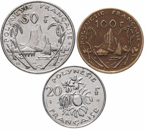 купить Французская Полинезия набор 20, 50 и 100 франков 1972-2005, случайная дата