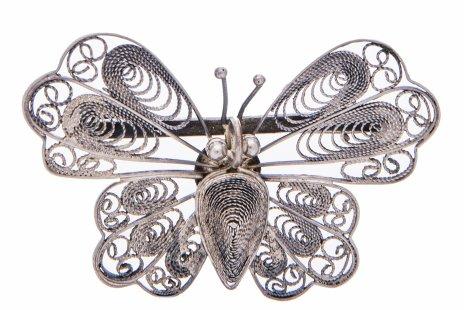 купить Брошь в виде бабочки в технике ажурной скани, сплав металла, Вьетнам 1970-1990 гг.