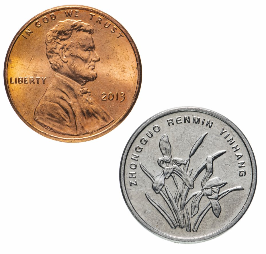 купить Набор из 2 монет - 1 цент США и 1 цзяо Китая 1959-2020, случайная дата