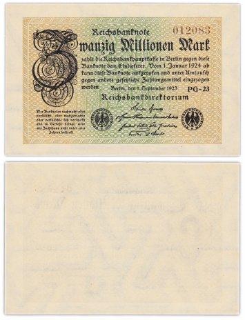 купить Германия 20 миллионов марок 1923 (Pick 108) Без знака номера