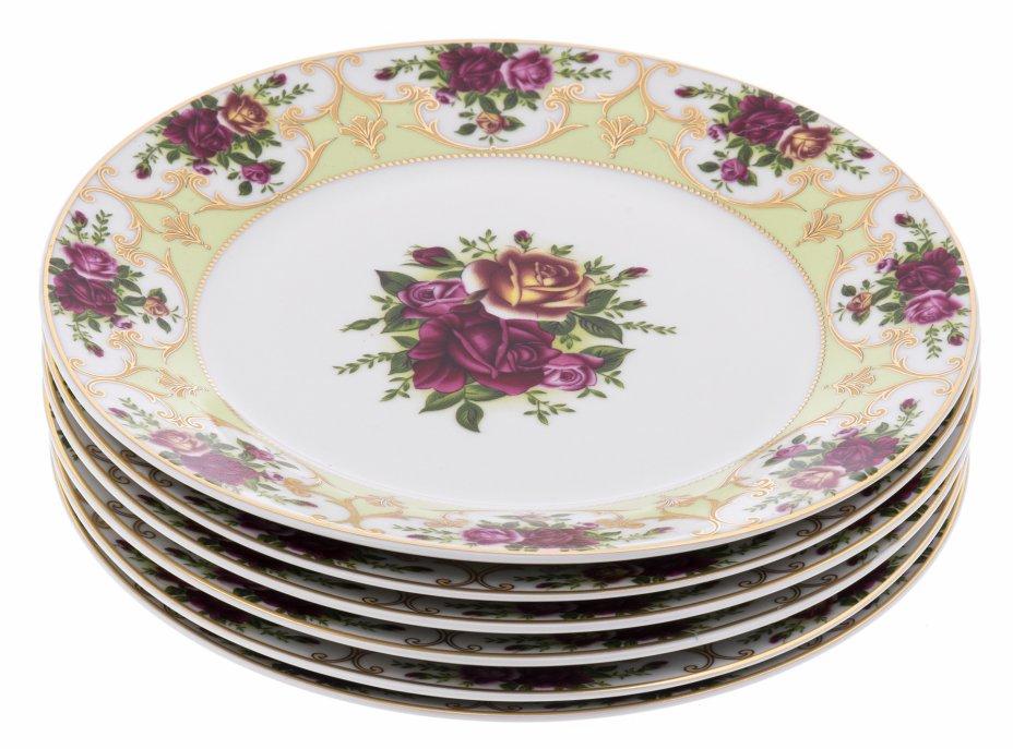 """купить Набор из шести десертных тарелок с декором в виде роз, фарфор, деколь, золочение, фирма """"KFL"""", Европа, 1970-2000 гг."""