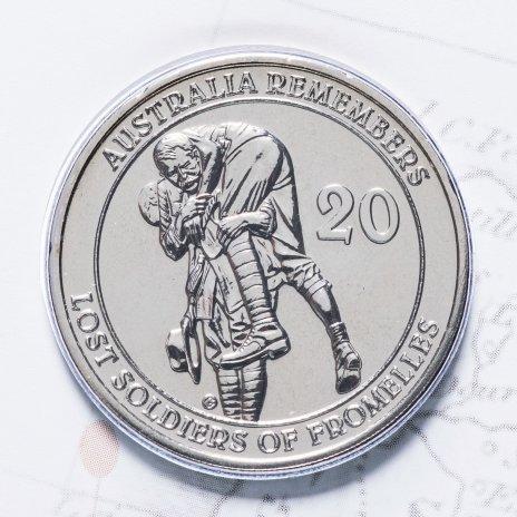 """купить Австралия 20 центов (cents) 2010 """"Павшие бойцы в битве при Фромеле"""" (в конверте, с маркой)"""