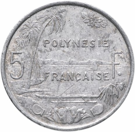 купить Французская Полинезия 5 франков (francs) 1975-2020, случайная дата
