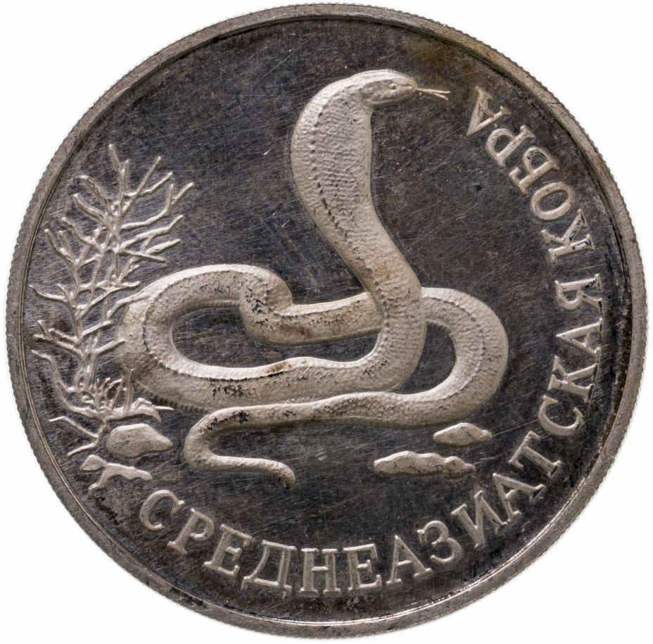 купить 1 рубль 1994 ЛМД Красная книга - среднеазиатская кобра