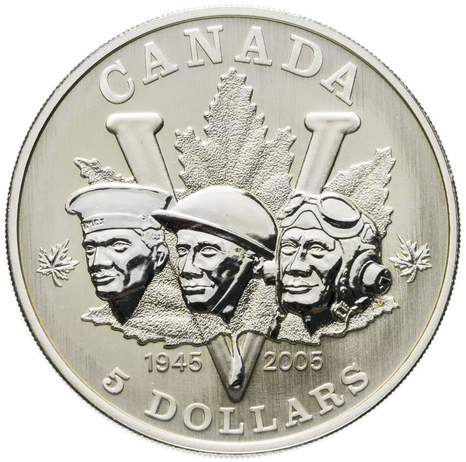 купить Канада 5 долларов (dollars) 2005  60 лет победе во ВМВ /маленькие кленовые листья слева и справа от лиц/