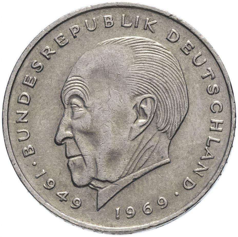 """купить Германия (ФРГ) 2 марки 1969-1987 """"Конрад Аденауэр, 20 лет Федеративной Республике"""", случайная дата"""