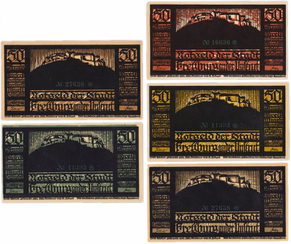 купить Германия (Саксония: Фрейбург (Унструт)) набор из 5 нотгельдов 1921 (390.1/В1)