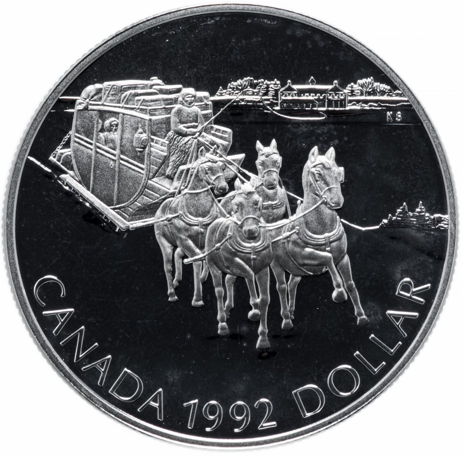 """купить Канада 1 доллар (dollar) 1992  """"175 лет Кингстонскому дилижансу Канада"""""""