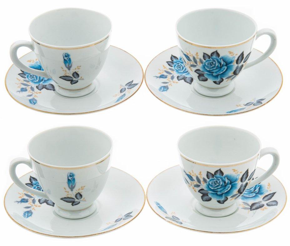 """купить Набор из 4 чайных пар """"Голубая роза"""", фарфор, деколь, золочение, Китай, 1980-2000 гг."""