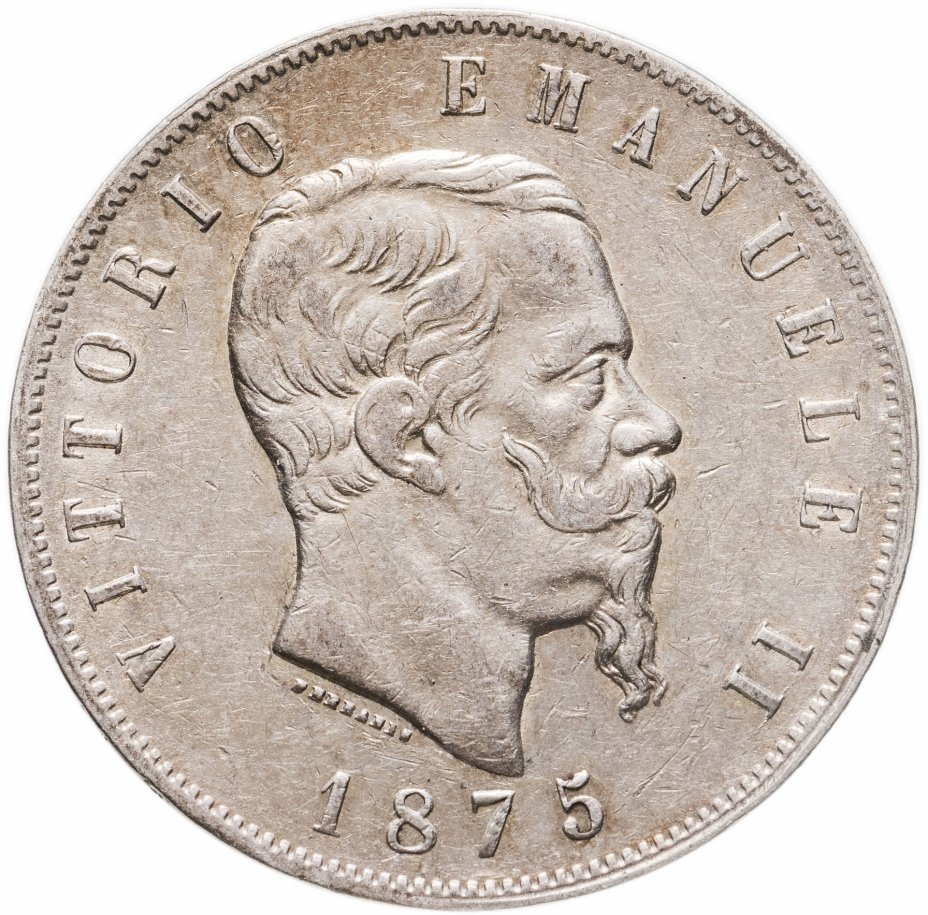 "купить Италия 5лир (lire) 1875 M  знак монетного двора: ""M"" - Милан"