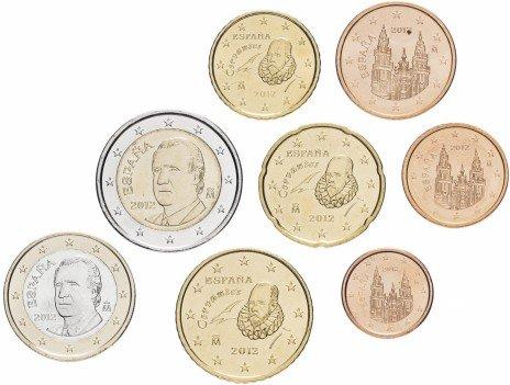купить Испания набор монет евро 2012 (8 штук)