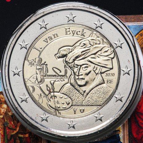 """купить Бельгия 2 евро (euro) 2020 """"Ян ван Эйк"""", коинкарта, надпись на французском """"BELGIQUE"""""""