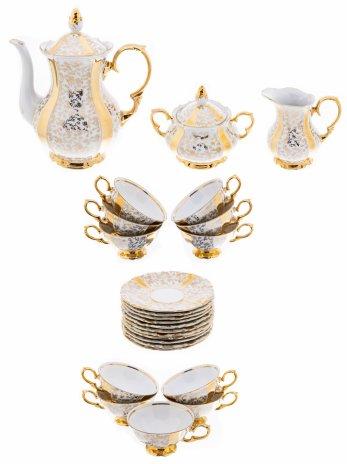 """купить Чайный сервиз с цветочным декором на 11 персон (25 предметов), фарфор, золочение, мануфактура """"Altenburg Saxony"""", Германия, 1906-1953 гг."""