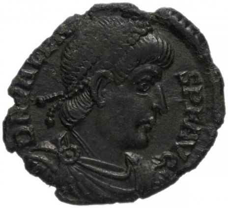 купить Римская Империя Валент II 364–378 гг наименьшая фракция фоллиса ? (реверс: Виктория идет влево, в руках - венок и пальмовая ветвь)