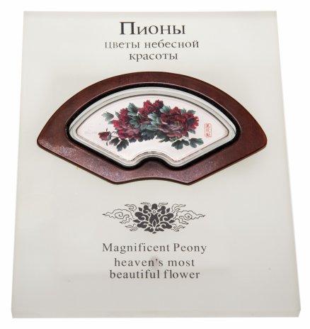 """купить Острова Кука 5 долларов 2008 Proof  """"Пионы - цветы небесной красоты"""" в футляре на подставке, с сертификатом"""