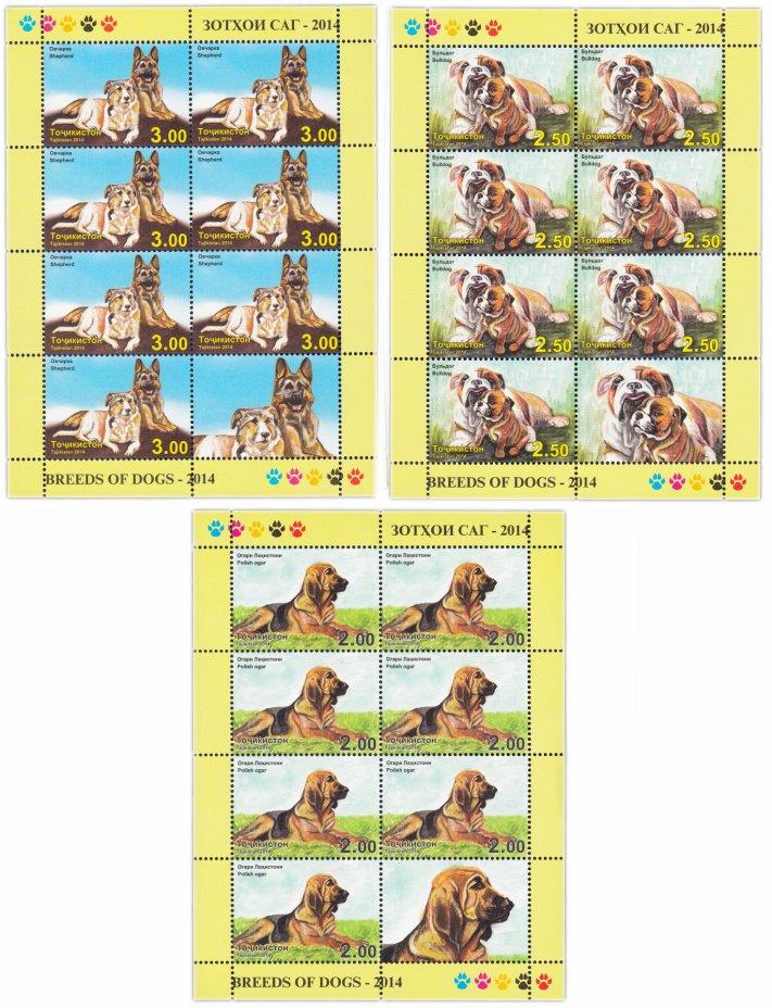 купить Таджикистан 2014 Собаки (набор 3 листа по 7 марок + купон)