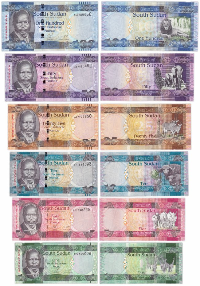 купить Южный Судан - набор 1, 5, 10, 25, 50, 100  фунтов 2011 (Pick 5,6,7,8,9,10)