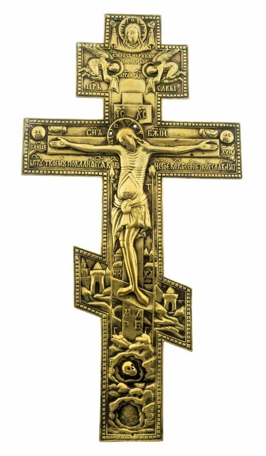 купить Крест большой киотный «Распятие Христово», бронза, литье, Российская Империя, 1850-1890 гг.