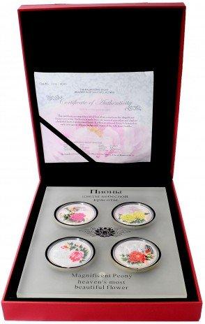 """купить Острова Кука набор из 4-х монет 1 доллар 2008 Proof  """"Пионы - цветы небесной красоты"""" в коробке с сертификатом"""