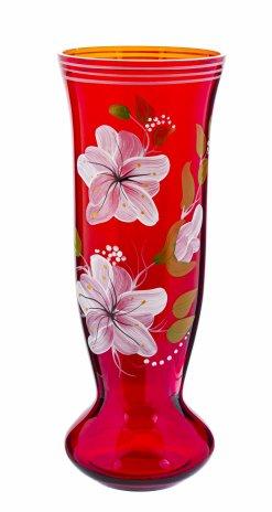 купить Ваза для цветов с цветочным декором, роспись, красное стекло, СССР, 1970-1990 гг.