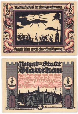 """купить Германия (Саксония: Глаухау) 1/2 марки 1921 """"Милитаризм"""" (436.3/B1/6)"""