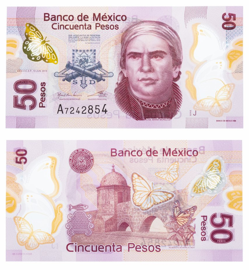 купить Мексика 50 песо 2013 (Pick 123Ad) пластик