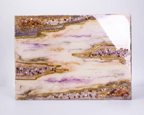 """купить Панно настенное """"Золотые облака"""",  авторская ручная работа в технике Resin Art, глянцевое 3D покрытие, натуральный камень, Россия, 2021 г."""