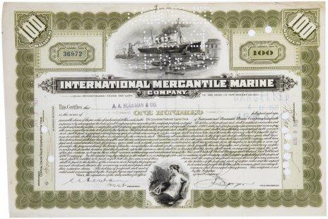 """купить Акция США INTERNATIONAL MERCANTILE MARINE ( ТИТАНИК) """" Гашение представителями банка  """"JP Morgan"""""""" 1921  г."""
