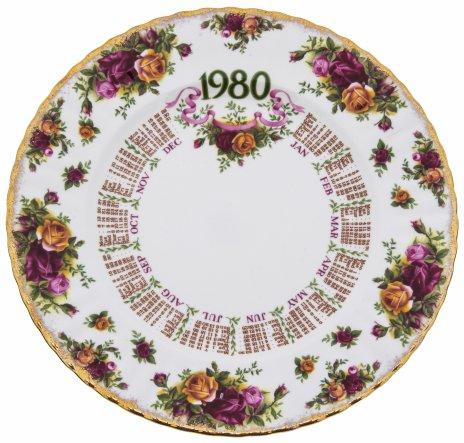"""купить Тарелка декоративная """"Календарь 1980 года"""",  фарфор, деколь, золочение, компания """"Royal Albert"""", Англия, 1980 г."""