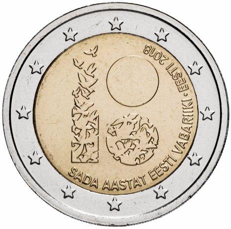 """купить Эстония 2 евро 2018 """"100 лет Эстонии"""""""