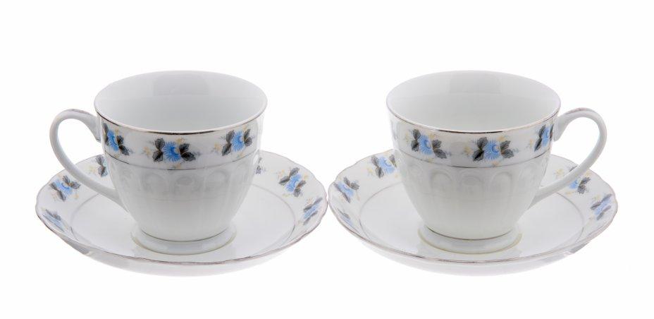 """купить Набор из двух чайных пар """"Голубые цветы"""", фарфор, деколь, Китай, 2000-2010 гг."""