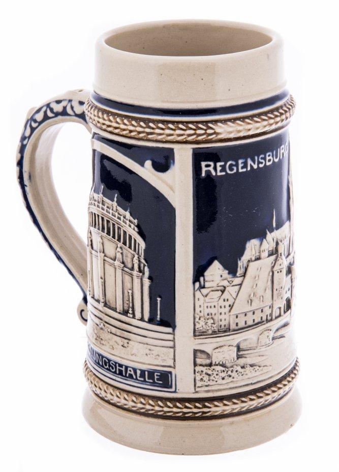 купить Кружка пивная сувенирная с видами Регенсбурга, 0,5 л., фаянс, роспись, Германия, 1970-1990 гг.