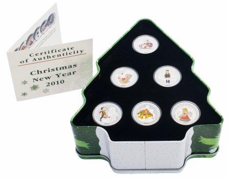 """купить Либерия набор 2 доллара 2010 """"С новым годом и Рождеством"""", 6 монет, в подарочной упаковке, с сертификатом"""