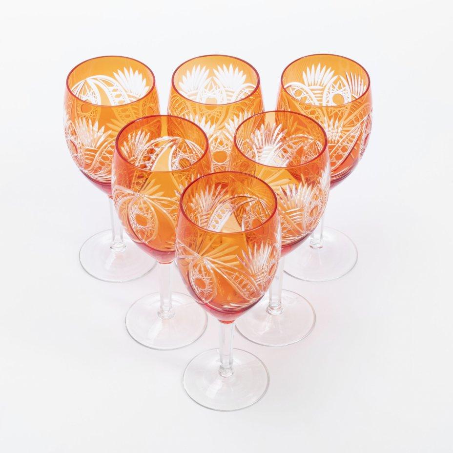 купить Набор из 6 цветных бокалов выполненных в технике алмазной грани, двухслойное стекло, СССР, 1970-1990 гг.