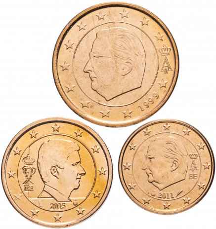 купить Бельгия набор монет от 1 до 5 евро центов (3 штуки)