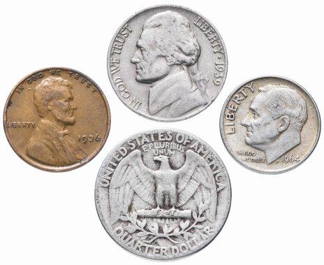 купить США комплект из 4 монет от 1 до 25 центов 1930-1964 гг.