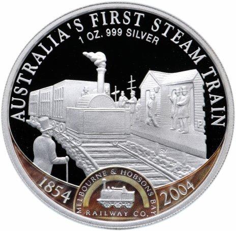 """купить Острова Кука 1 доллар 2004 """"150 лет железным дорогам Австралии, первый паровоз"""""""