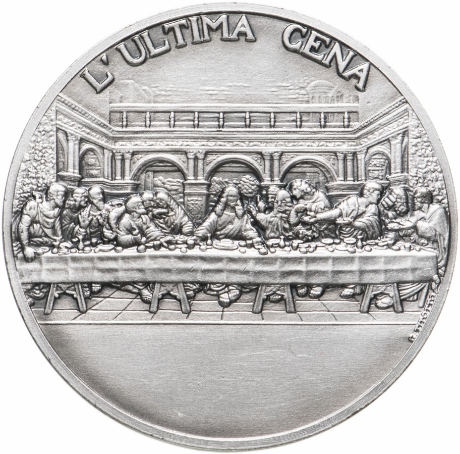 """купить Медаль настольная """"Musei Vaticani XII anno 2003. L Ultima Cena"""" в оригинальном футляре, серебро, Италия, 2003 г."""