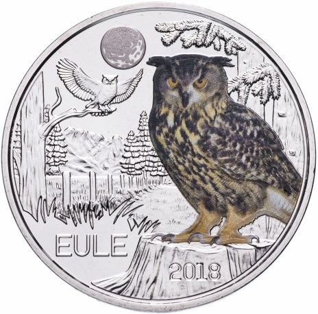 купить Австрия 3 евро 2018 Сова