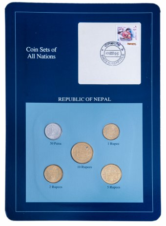 """купить Серия """"Наборы монет всех стран мира""""- Непал (набор из 5 монет и 1 марки в буклете)"""