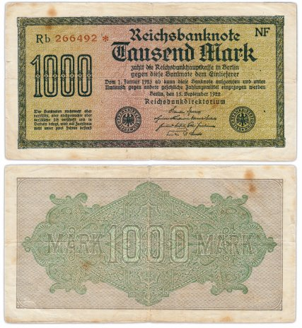 купить Германия 1000 марок 1922 Pick 76с(8)