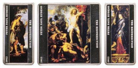"""купить Токелау 2012 набор из 3 монет Proof """"Рубенс Триптих Воскресение Христа"""" в футляре с сертификатом и описанием"""