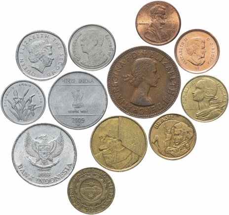 купить Дюжина (12 штук) монет разных стран мира (12 стран, без повторов)