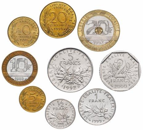 купить Франция набор монет 1989-2000 (9 монет)