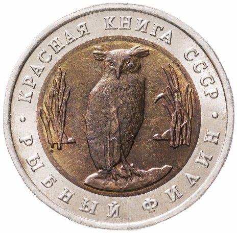 купить 5 рублей 1991 ЛМД Красная книга -  Рыбный Филин
