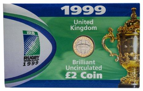 купить Великобритания 2 фунта (pounds) 1999 Чемпионат мира по регби