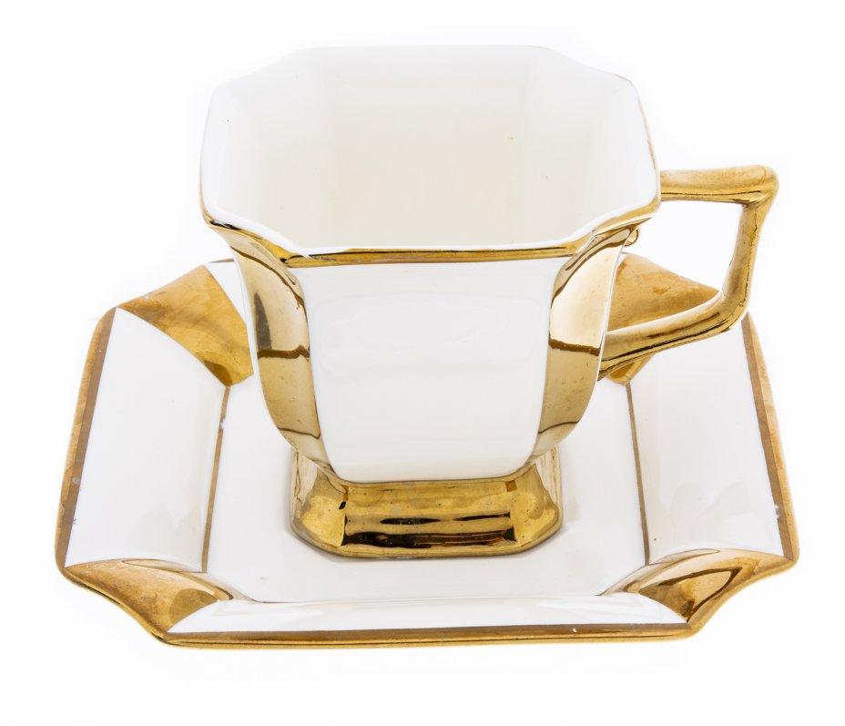 """купить Чайная пара с золочёным декором в родной коробке, компания """"Loraine"""", Китай, 2000-2015 гг."""