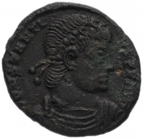 купить Римская Империя Констанций II 324–361 гг фоллис (реверс: два воина стоят, между ними один штандарт с христограммой)