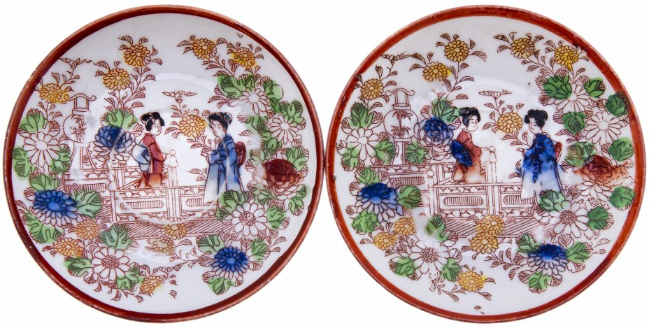 """купить Набор из 2 розеток """"Гейши"""", фарфор, роспись, Япония, 1920-1960 гг."""