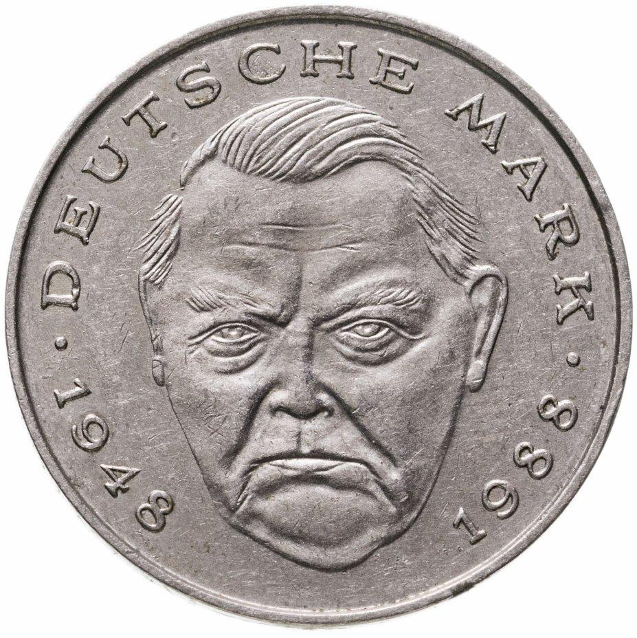"""купить Германия 2 марки 1988 G Людвиг Эрхард, 40 лет Федеративной Республике (1948-1988) знак монетного двора: """"G"""" - Карлсруэ"""